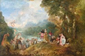 Le pèlerinage à l'île de Cythère by Watteau.